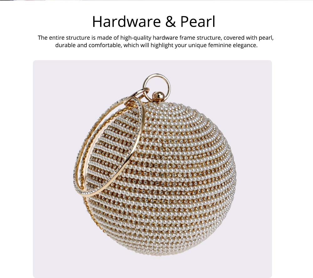 Fashion Pearl Ball Tote Handbag, European Beauty Party Bag, High-quality Polyester Party Evening Bag 1