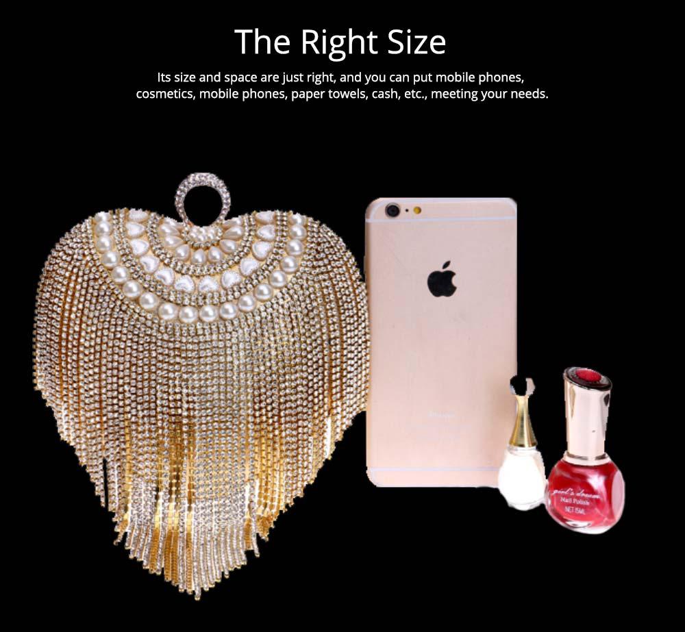 Tassel Evening Bag, Luxury Female Clutch, Mini Heart-shaped Polyester Dress Clutch 2019 9