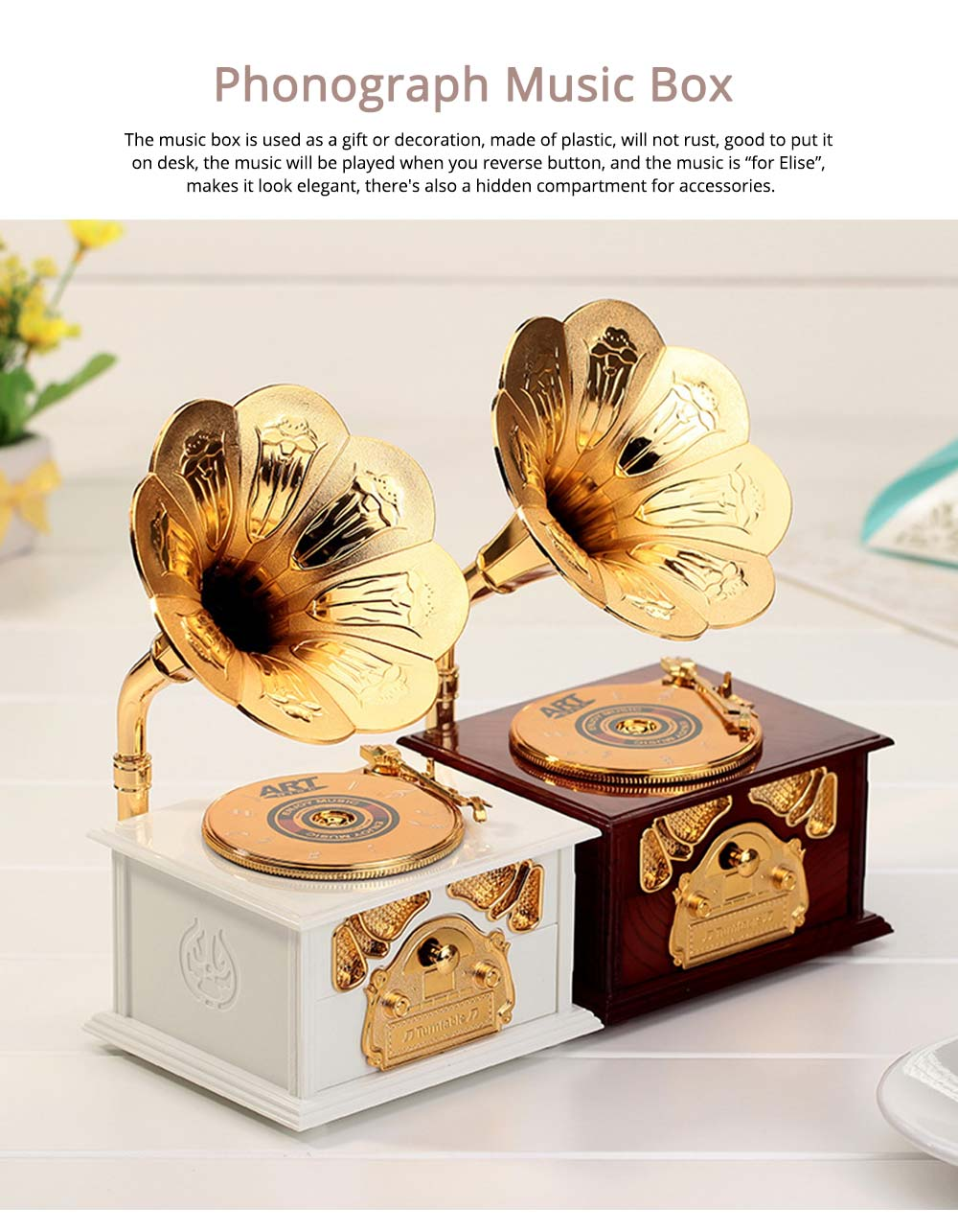 Phonograph Music Box for Home, Office Decoration, Vintage Style Gift Phonograph Music Case 0