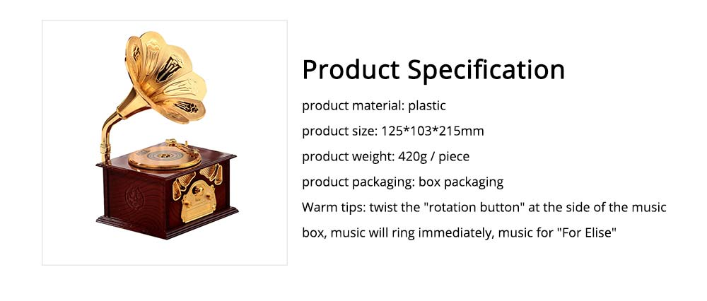 Phonograph Music Box for Home, Office Decoration, Vintage Style Gift Phonograph Music Case 6