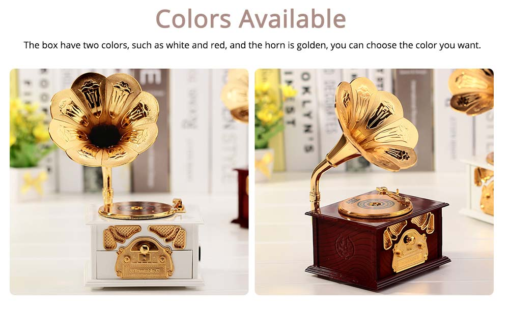 Phonograph Music Box for Home, Office Decoration, Vintage Style Gift Phonograph Music Case 4
