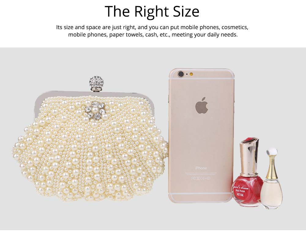 Beaded Pearl Dinner Bag, Women's Fashion Party Bag, High-quality Polyester Evening Dress Clutch 2