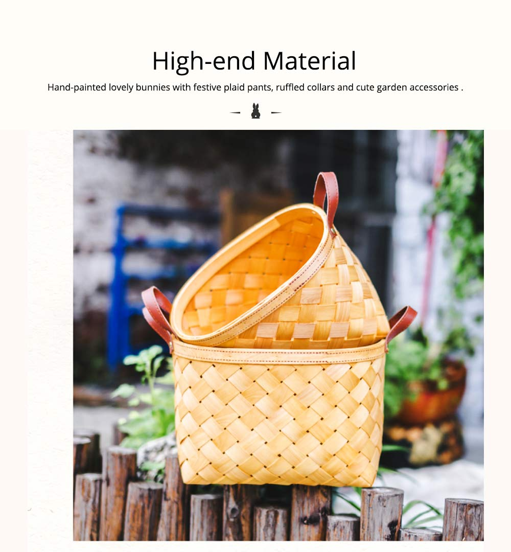 Woven Basket with Double PU Strap Handle, Large Capacity Storage Basket, Portable Picnic Basket 6