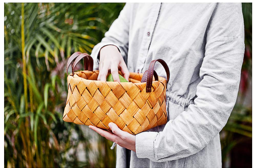 Hand Woven Basket with Double PU Strap Handle, Portable Care Products Storage Basket 4