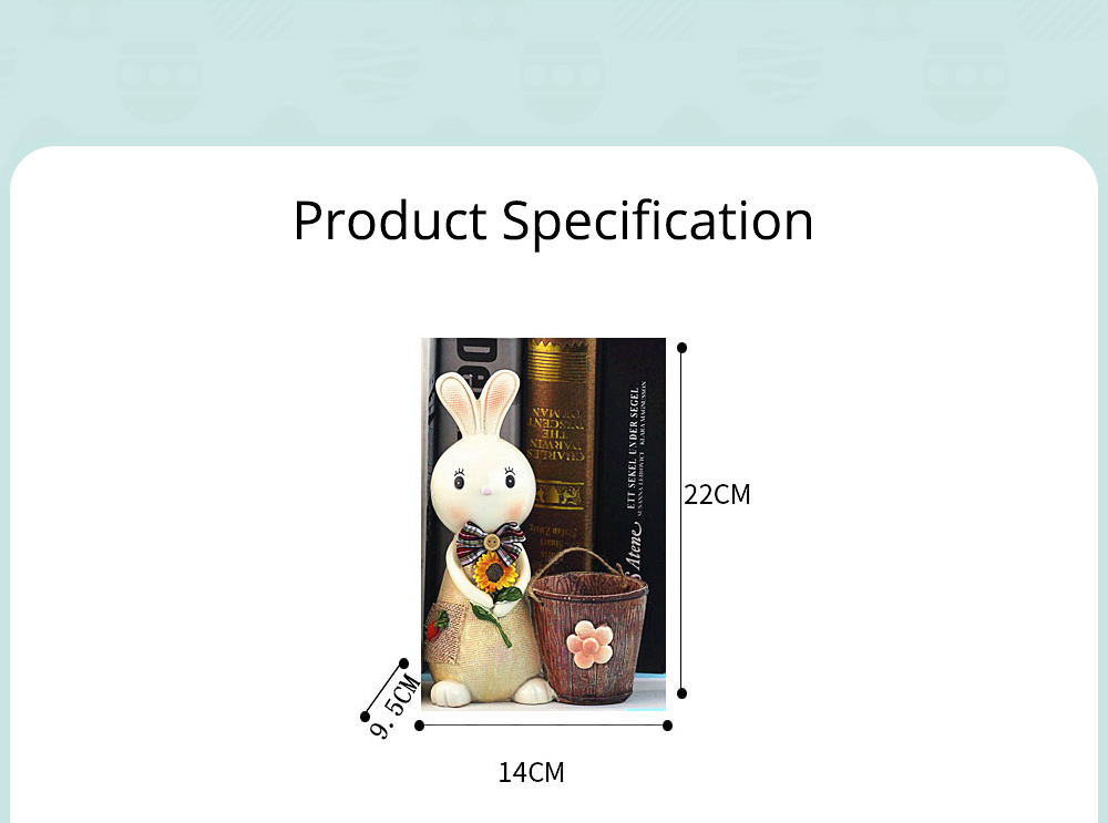 Rabbit Storage Drum for Brush Pot & Piggy Bank, Multi-functional Resin Easter Desktop Decorations 17
