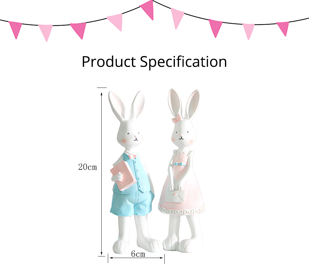 Cartoon Girl Bunny for Birthday Gift and Decoration, Seating and Standing Rabbits Easter Present 7