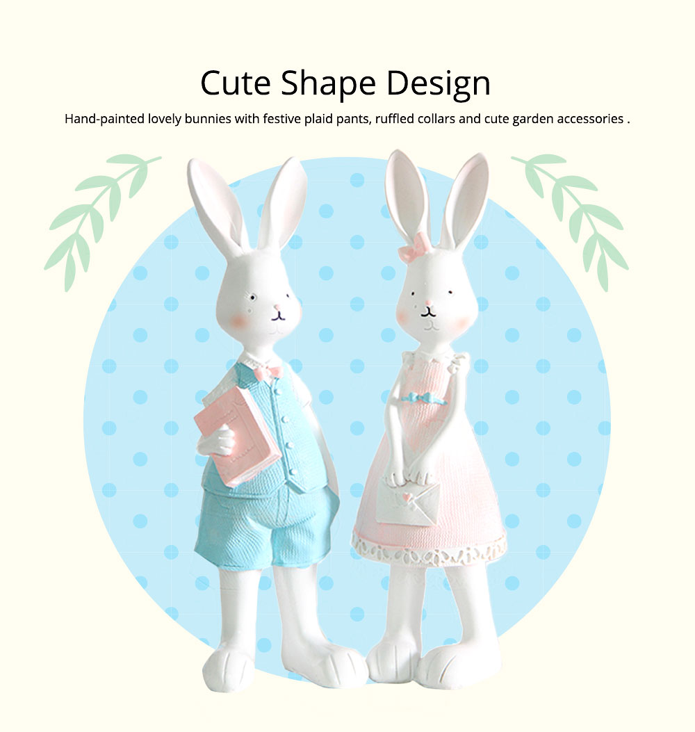 Cartoon Girl Bunny for Birthday Gift and Decoration, Seating and Standing Rabbits Easter Present 3