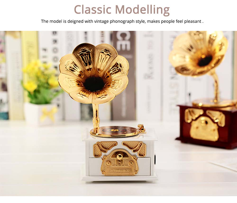 Phonograph Music Box for Home, Office Decoration, Vintage Style Gift Phonograph Music Case 2