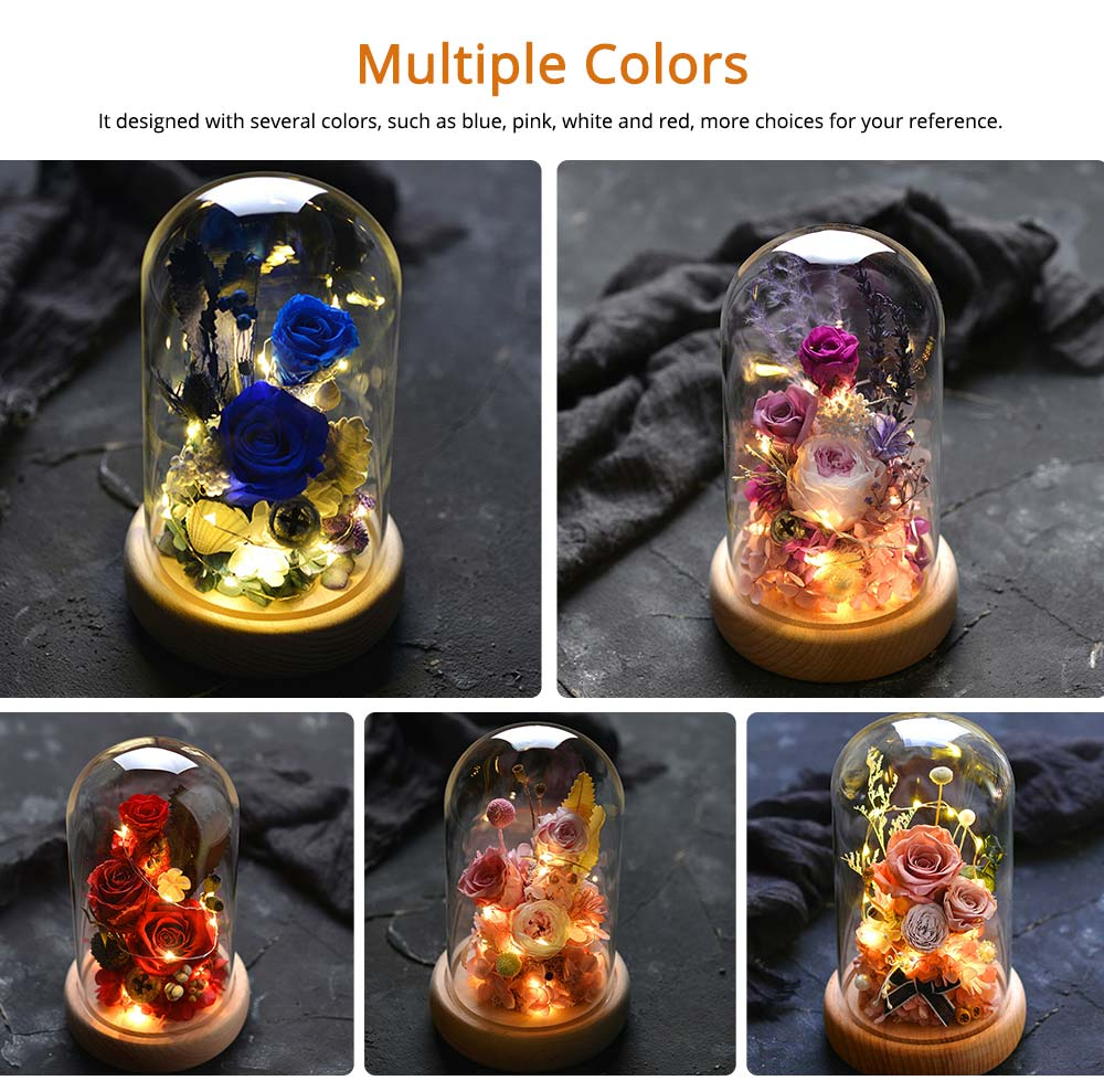 Preserved Fresh Flower Gift with Glass Pot and Wooden Base, LED Lights Romantic Rose for Girlfriend 12