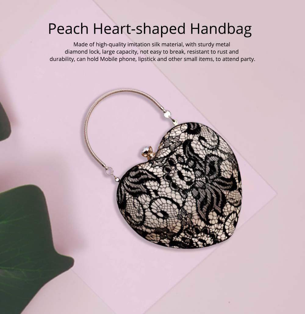 Peach Heart-shaped Handbag, Fashion Banquet Ladies Clutch, Imitation Silk Purse 2019 0