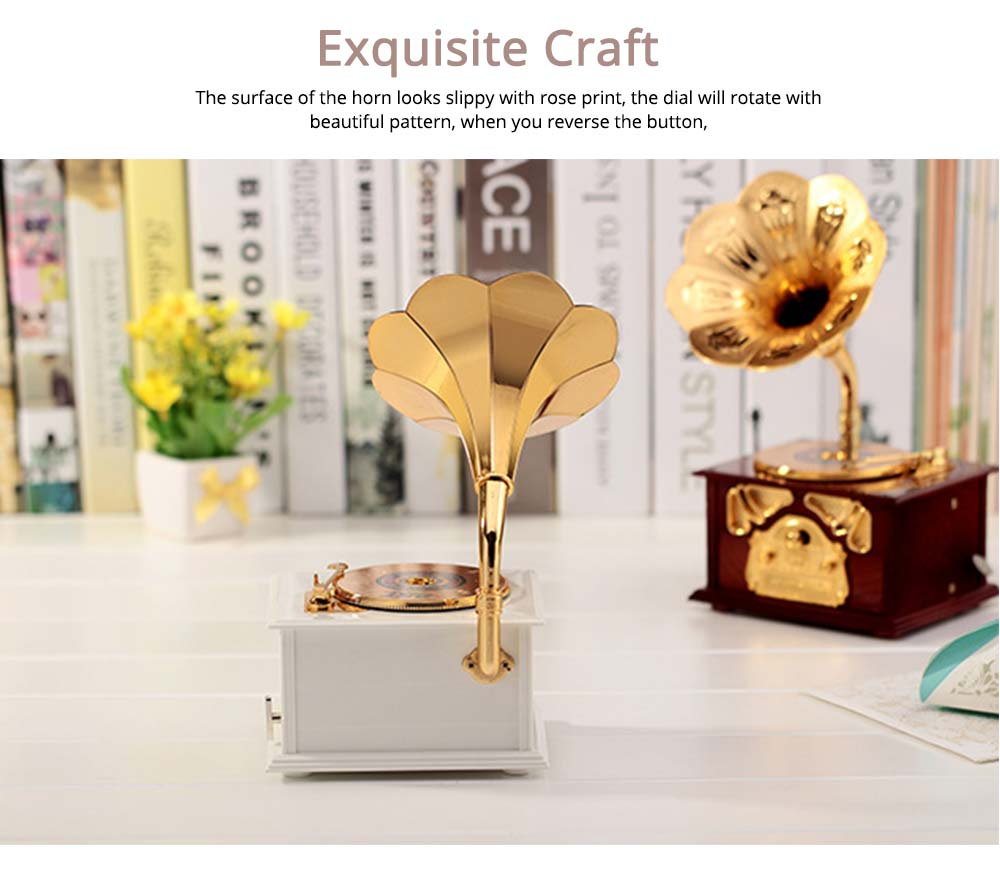Phonograph Music Box for Home, Office Decoration, Vintage Style Gift Phonograph Music Case 5