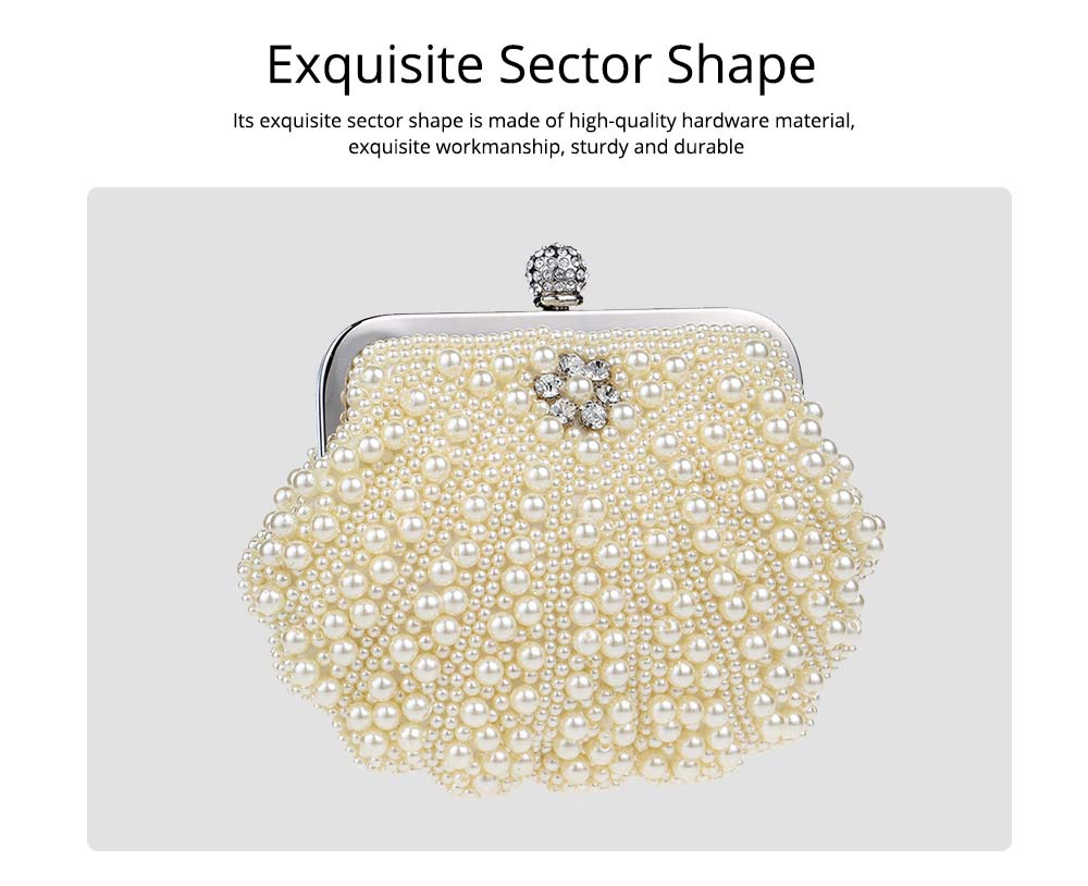 Beaded Pearl Dinner Bag, Women's Fashion Party Bag, High-quality Polyester Evening Dress Clutch 3
