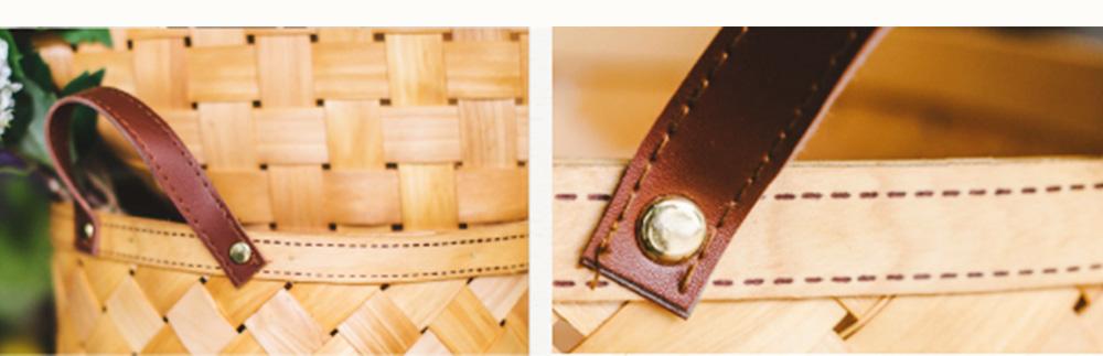 Woven Basket with Double PU Strap Handle, Large Capacity Storage Basket, Portable Picnic Basket 5