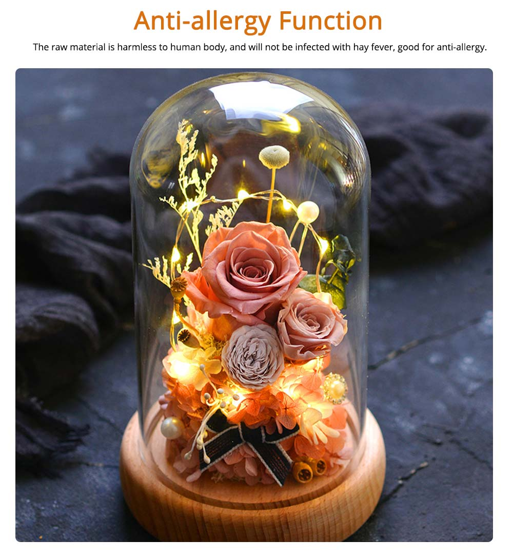 Preserved Fresh Flower Gift with Glass Pot and Wooden Base, LED Lights Romantic Rose for Girlfriend 11