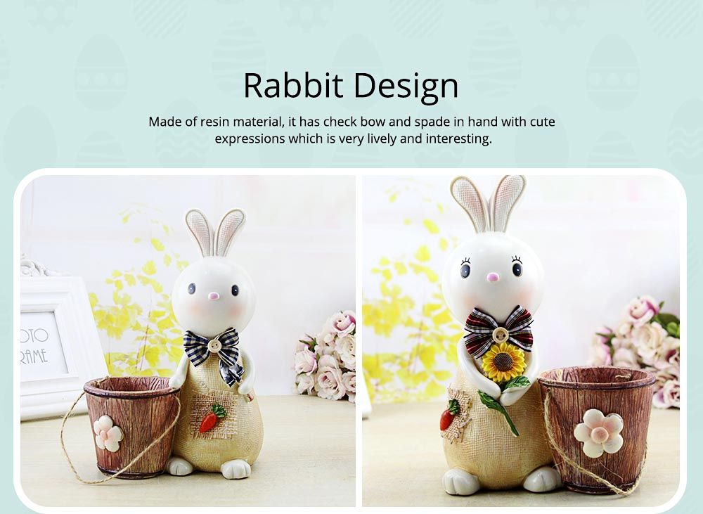 Rabbit Storage Drum for Brush Pot & Piggy Bank, Multi-functional Resin Easter Desktop Decorations 16
