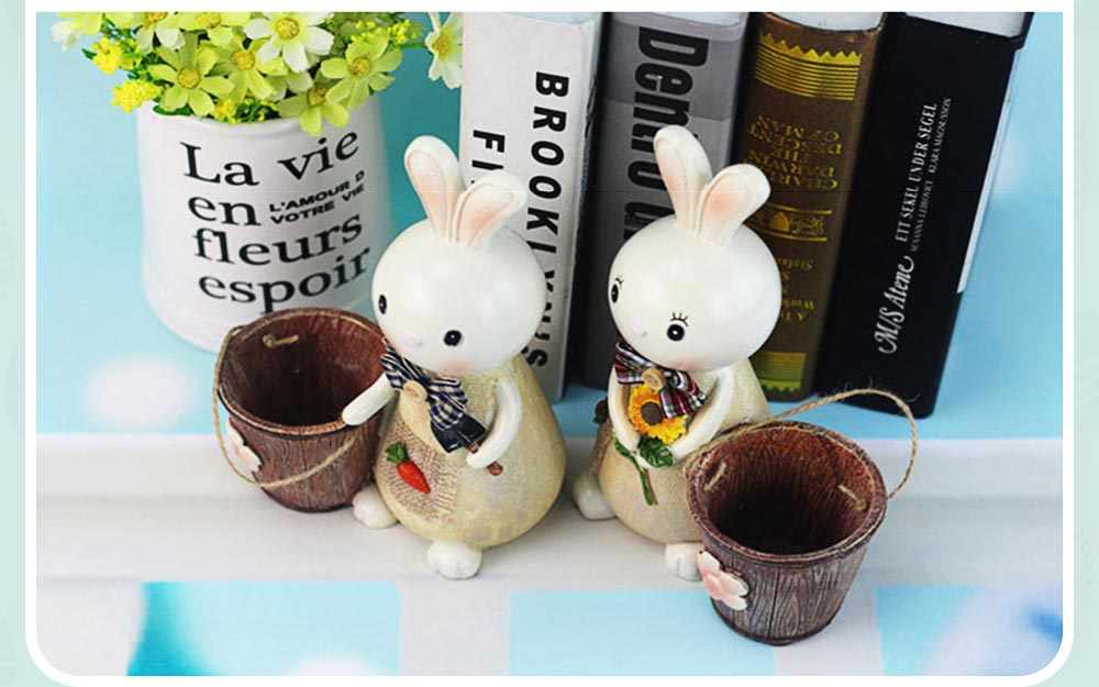 Rabbit Storage Drum for Brush Pot & Piggy Bank, Multi-functional Resin Easter Desktop Decorations 12