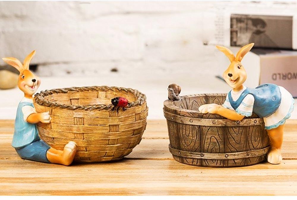 Succulent Flower pot, Lovely Cartoon Rabbit with Flower Pot Design for Birthday or Easter Present 7