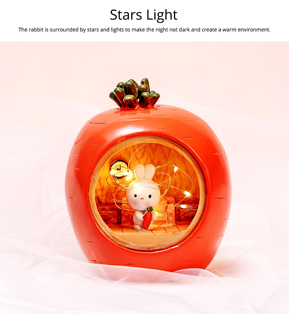 Easter Present Lovely Cartoon Bucolic Rabbit with Carrots Star Lamp, Night Light Bedside Lamp 2