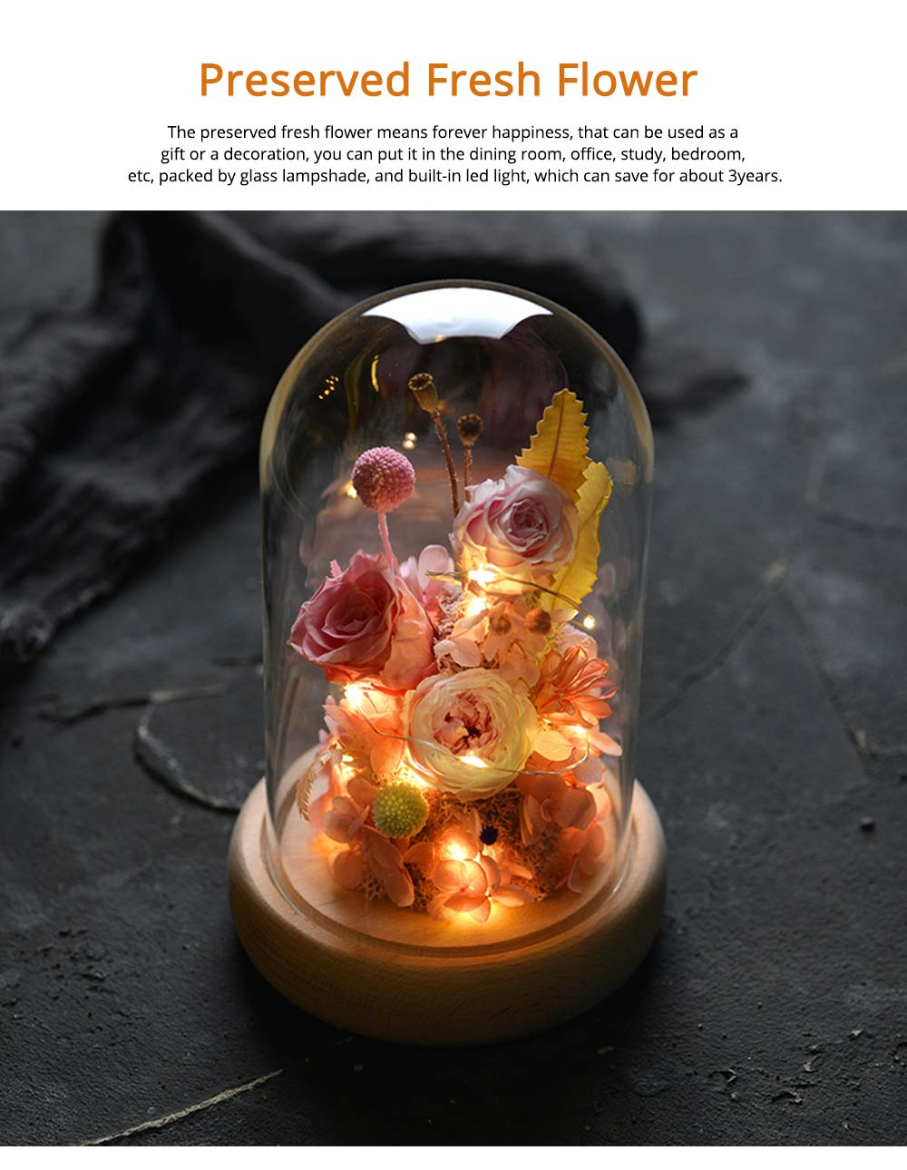 Preserved Fresh Flower Gift with Glass Pot and Wooden Base, LED Lights Romantic Rose for Girlfriend 7