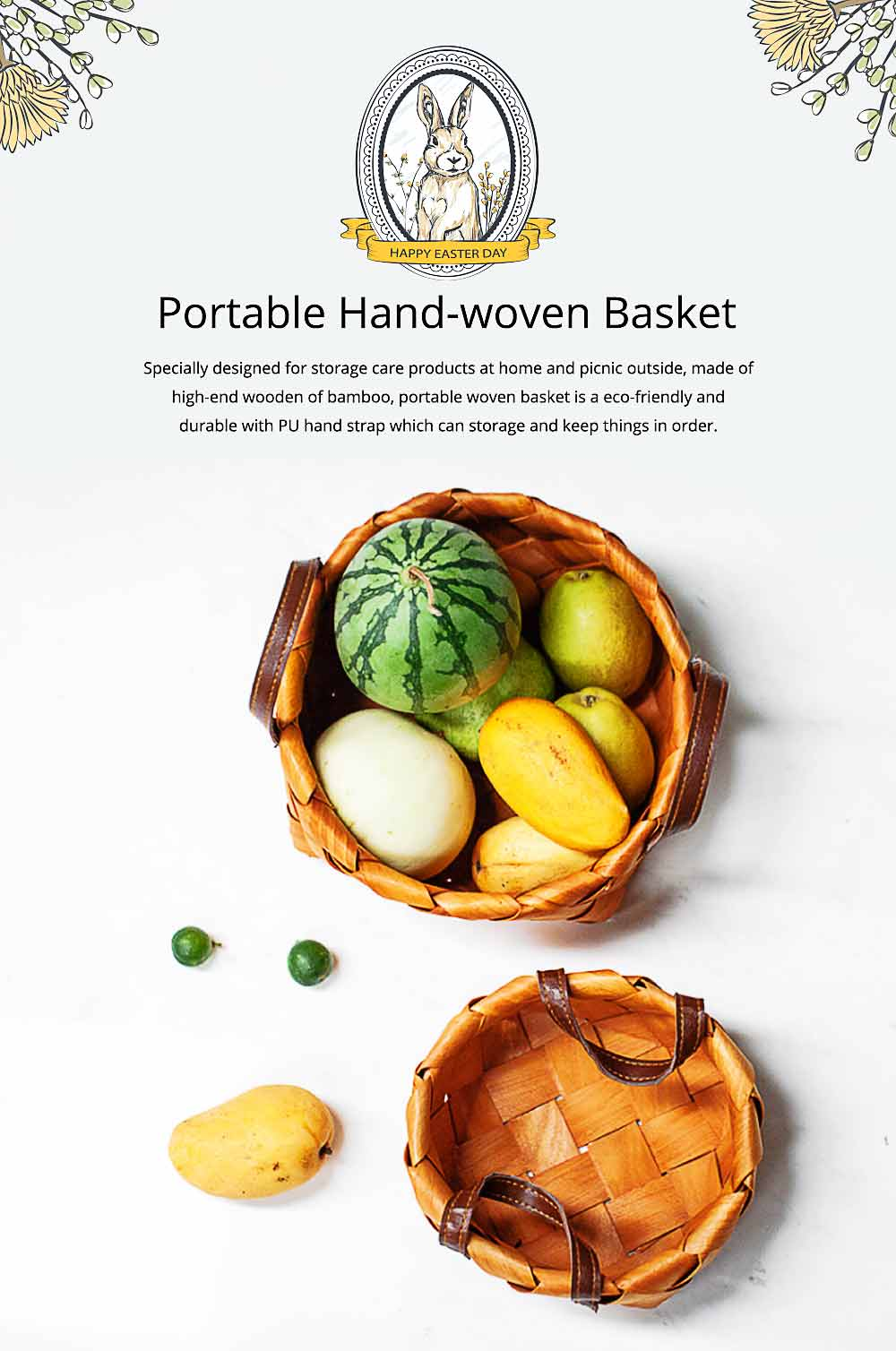 Hand Woven Basket with Double PU Strap Handle, Portable Care Products Storage Basket 0