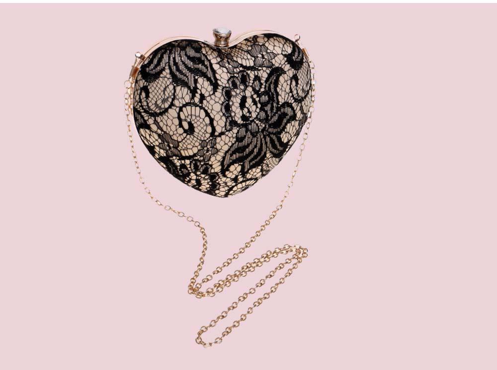 Peach Heart-shaped Handbag, Fashion Banquet Ladies Clutch, Imitation Silk Purse 2019 8