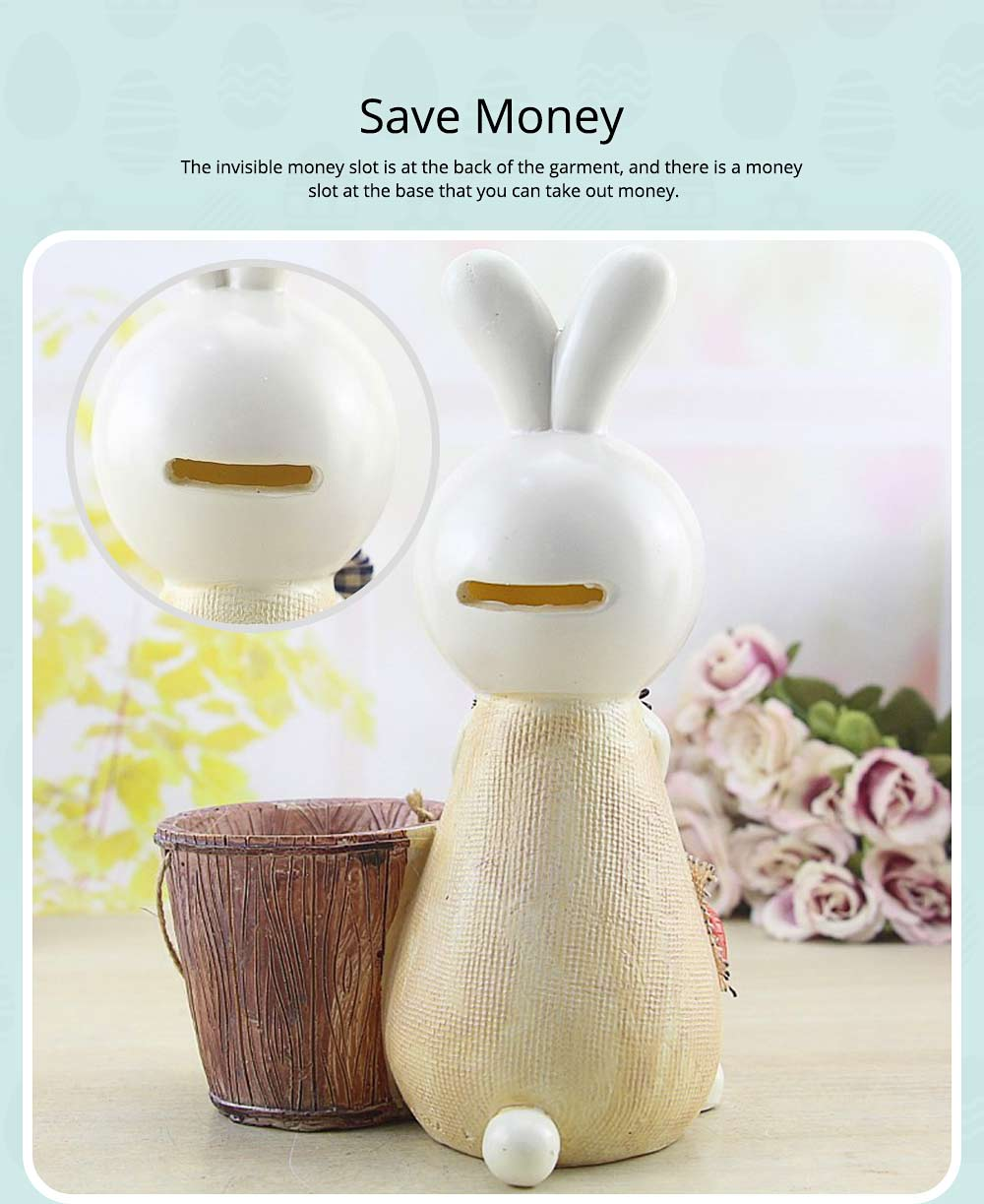 Rabbit Storage Drum for Brush Pot & Piggy Bank, Multi-functional Resin Easter Desktop Decorations 13