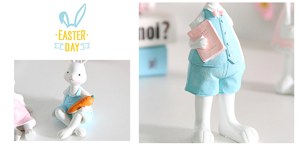 Cartoon Girl Bunny for Birthday Gift and Decoration, Seating and Standing Rabbits Easter Present 5