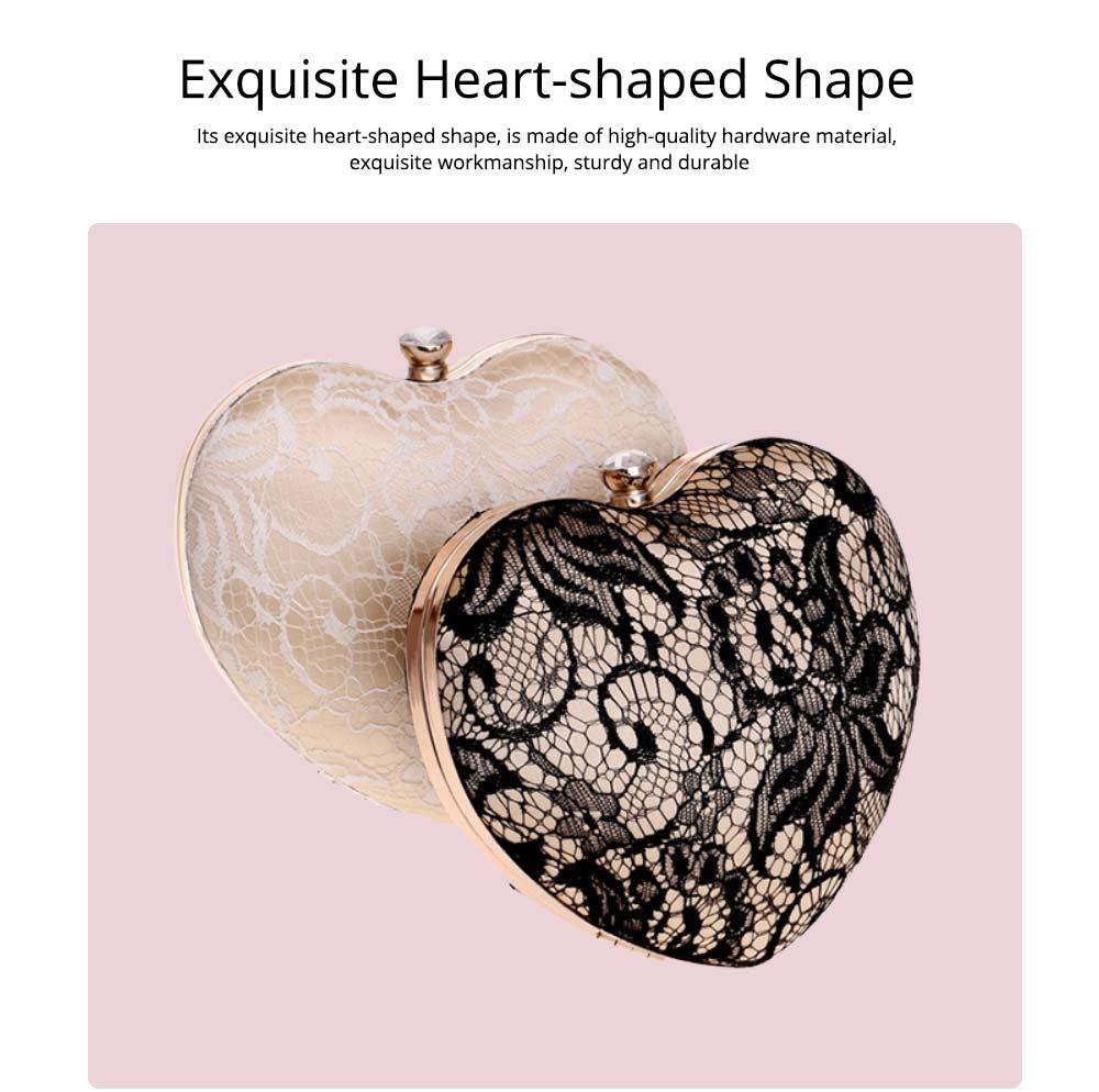 Peach Heart-shaped Handbag, Fashion Banquet Ladies Clutch, Imitation Silk Purse 2019 3