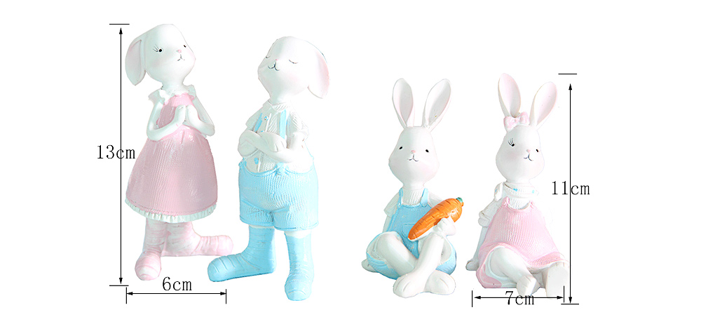 Cartoon Girl Bunny for Birthday Gift and Decoration, Seating and Standing Rabbits Easter Present 8