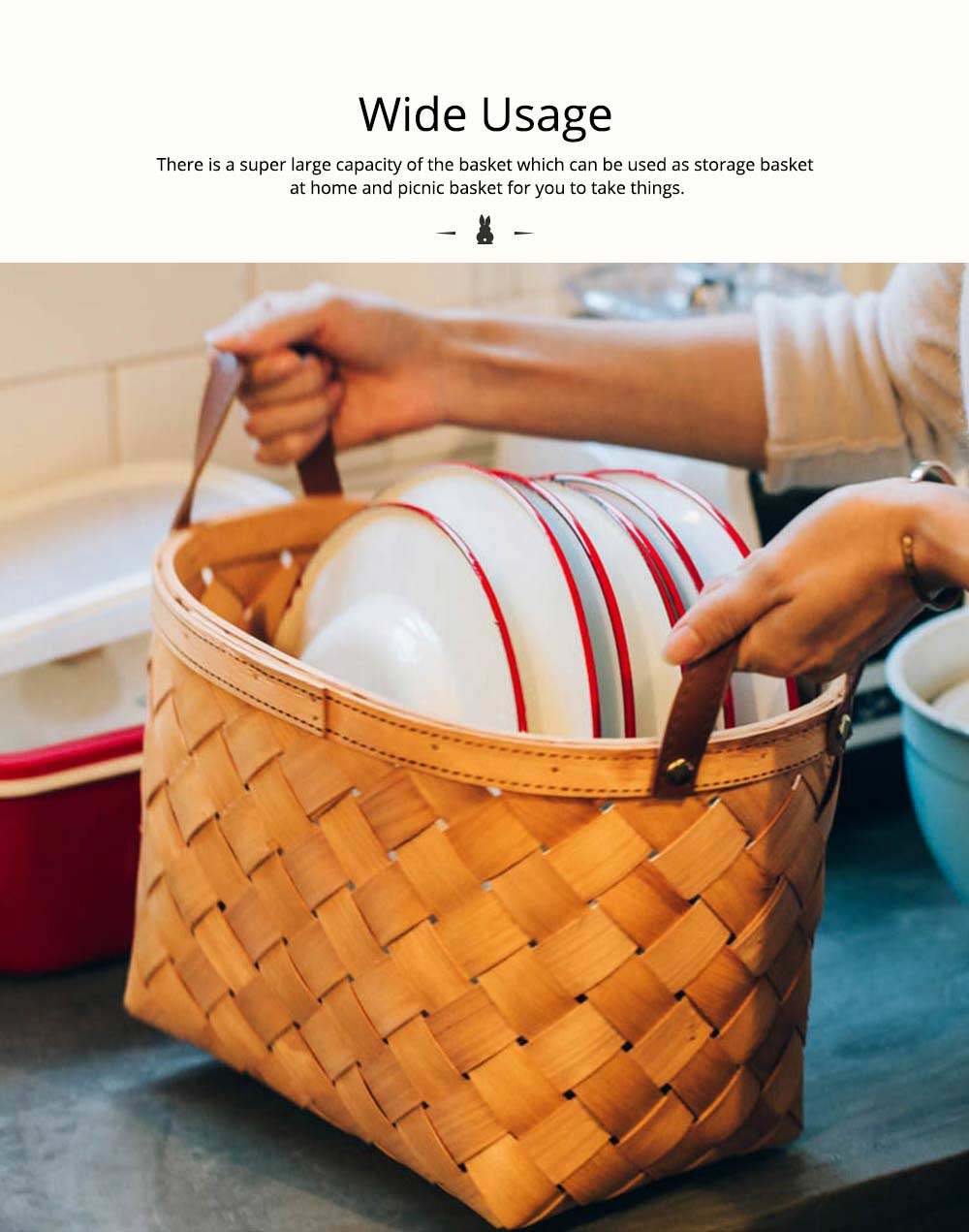 Woven Basket with Double PU Strap Handle, Large Capacity Storage Basket, Portable Picnic Basket 2