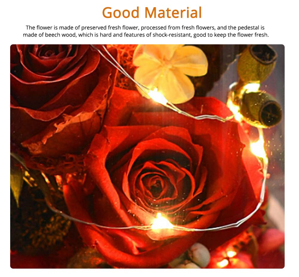 Preserved Fresh Flower Gift with Glass Pot and Wooden Base, LED Lights Romantic Rose for Girlfriend 8