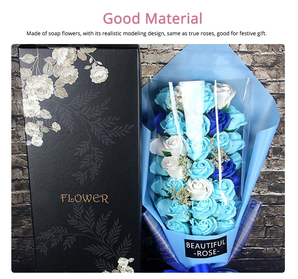 Soap Flower Rose Bouquet for Mother's Day, Valentine's Day, Romantic Gift Rose with Gift Box 1