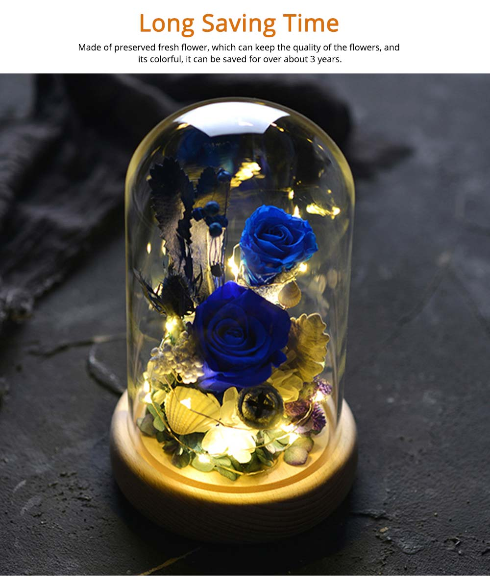 Preserved Fresh Flower Gift with Glass Pot and Wooden Base, LED Lights Romantic Rose for Girlfriend 9