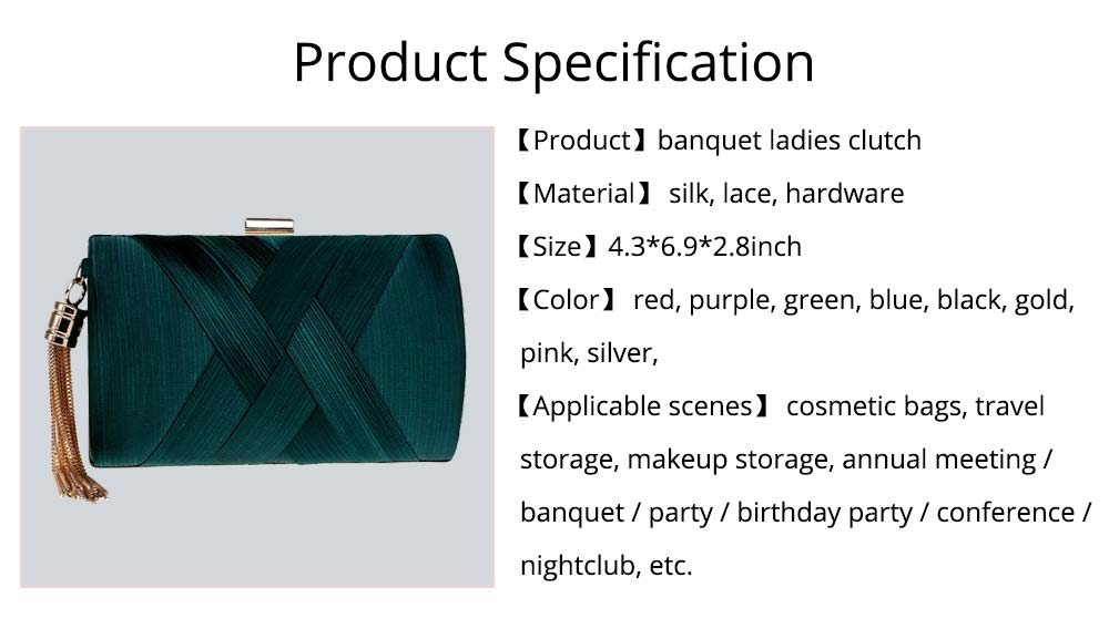Fringe Party Bag, Female European and American Silk Party Evening Bag, Luxurious Imitation Silk Dress Clutch 16