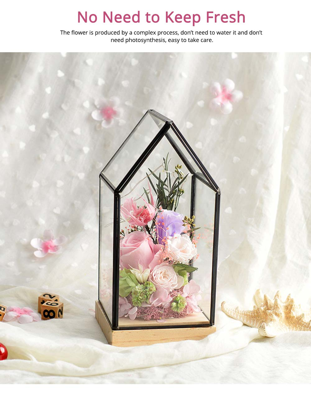 Preserved Roses In Glass Dome, Never Withered Rose with Room Shape Glass, Valentine Gift Preserved Flower 2