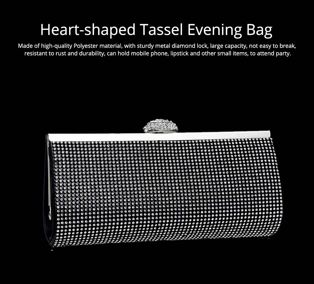 Diamond-encrusted Evening Bag, European and American Ladies Banquet Handbag, Polyester Dress Clutch 0