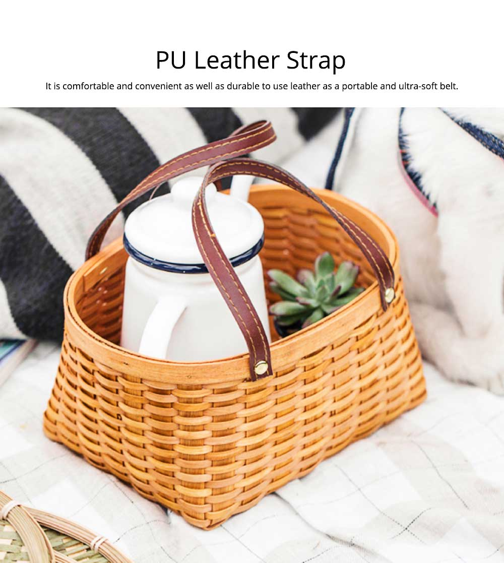 Hand-woven Wooden Picnic Basket with Double PU Hand Strap, Portable Clutter Basket for Storage 4
