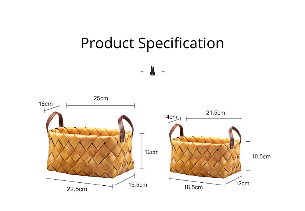 Hand Woven Basket with Double PU Strap Handle, Portable Care Products Storage Basket 11