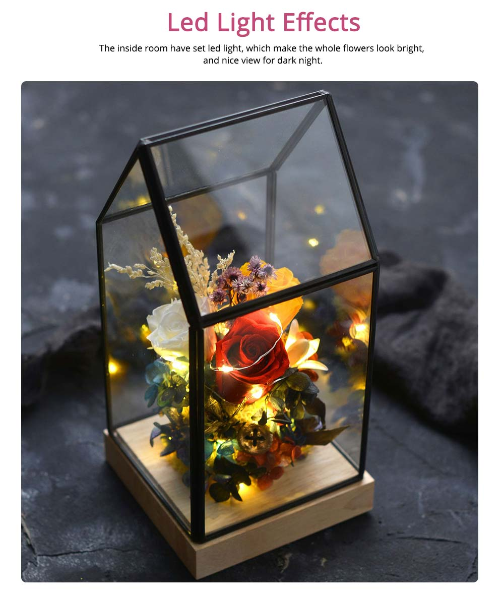 Preserved Roses In Glass Dome, Never Withered Rose with Room Shape Glass, Valentine Gift Preserved Flower 5