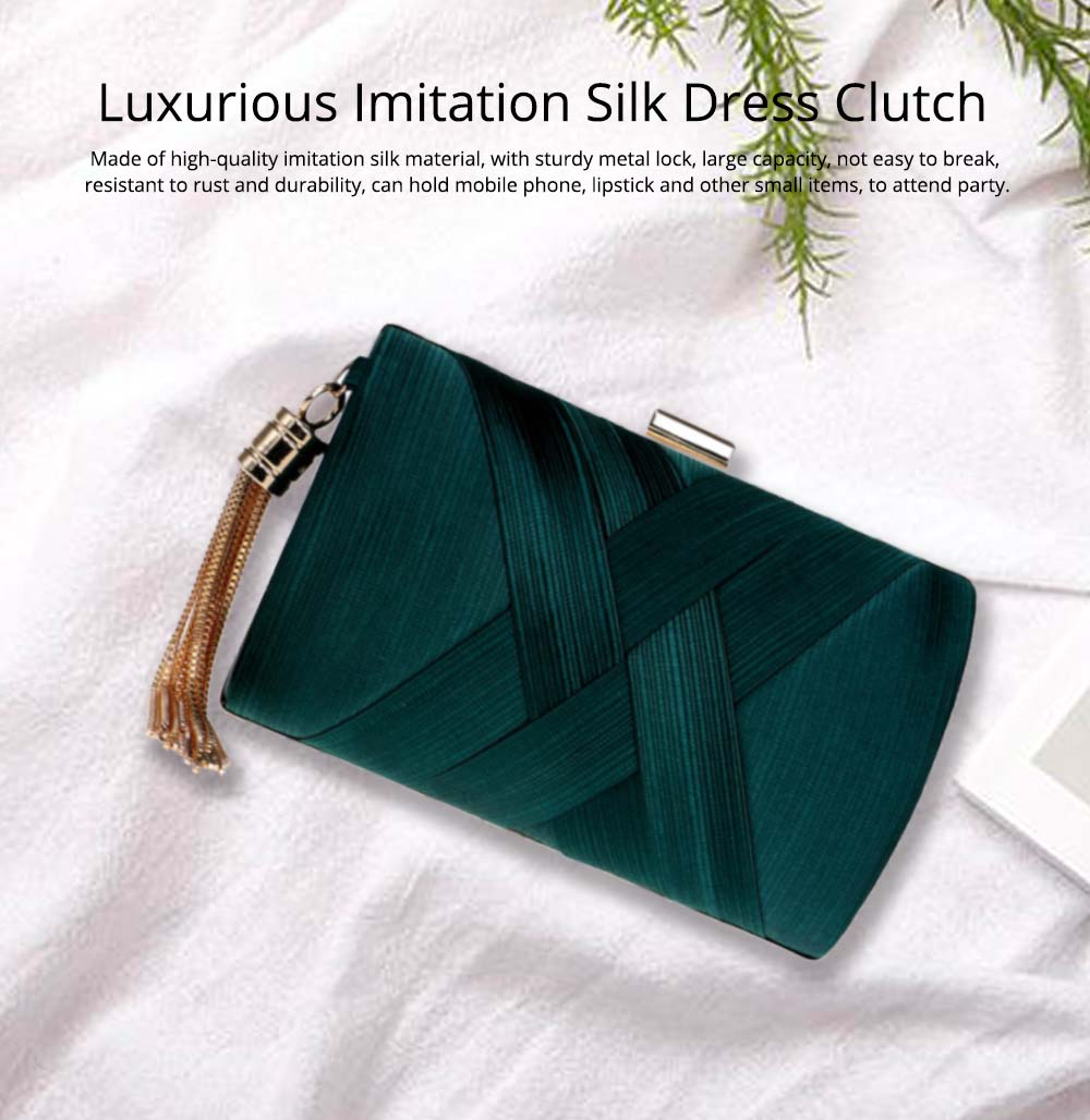 Fringe Party Bag, Female European and American Silk Party Evening Bag, Luxurious Imitation Silk Dress Clutch 0