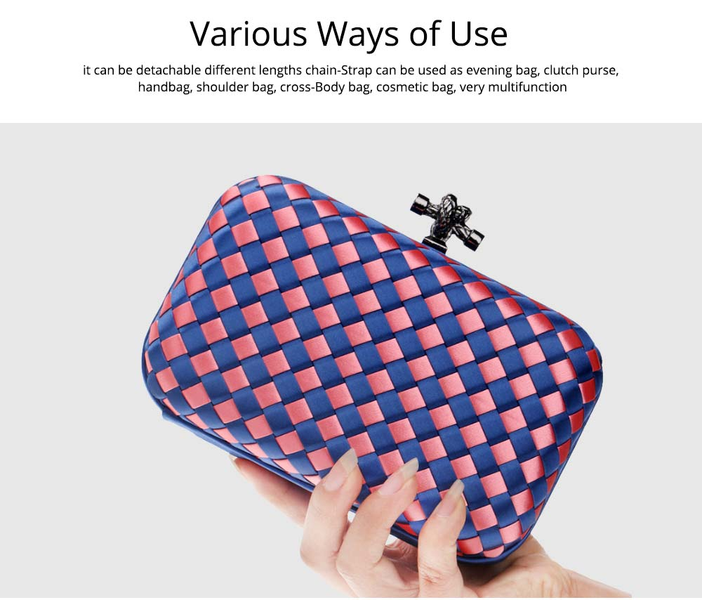 Small Square Dinner Clutch, Woven Chain Ladies Banquet Bag, Polyester Shoulder Diagonal Package Bag 6