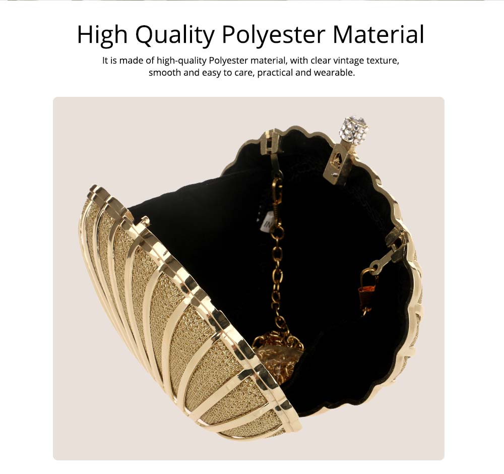 Metal Evening Bag, Ladies High-end Banquet Bag, High-quality Polyester Evening Dress Clutch Bag 1