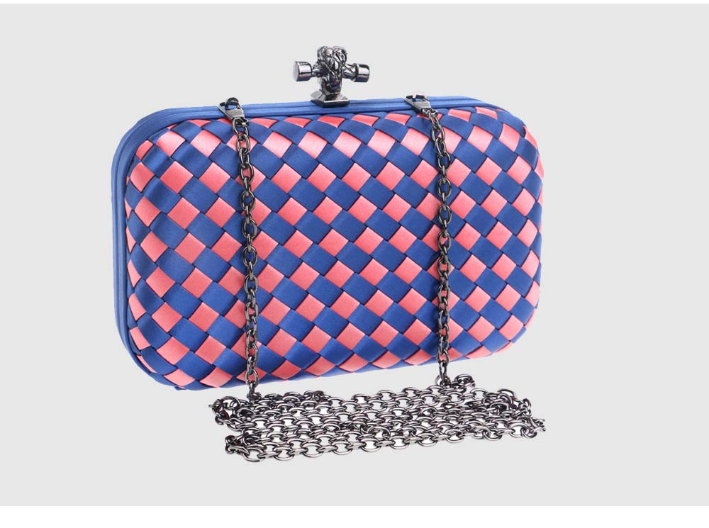 Small Square Dinner Clutch, Woven Chain Ladies Banquet Bag, Polyester Shoulder Diagonal Package Bag 7