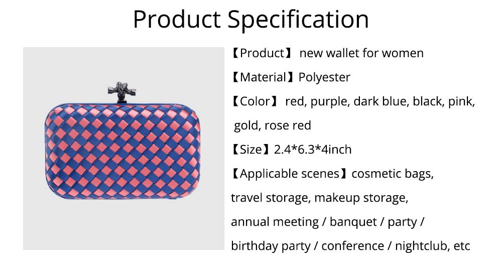 Small Square Dinner Clutch, Woven Chain Ladies Banquet Bag, Polyester Shoulder Diagonal Package Bag 8