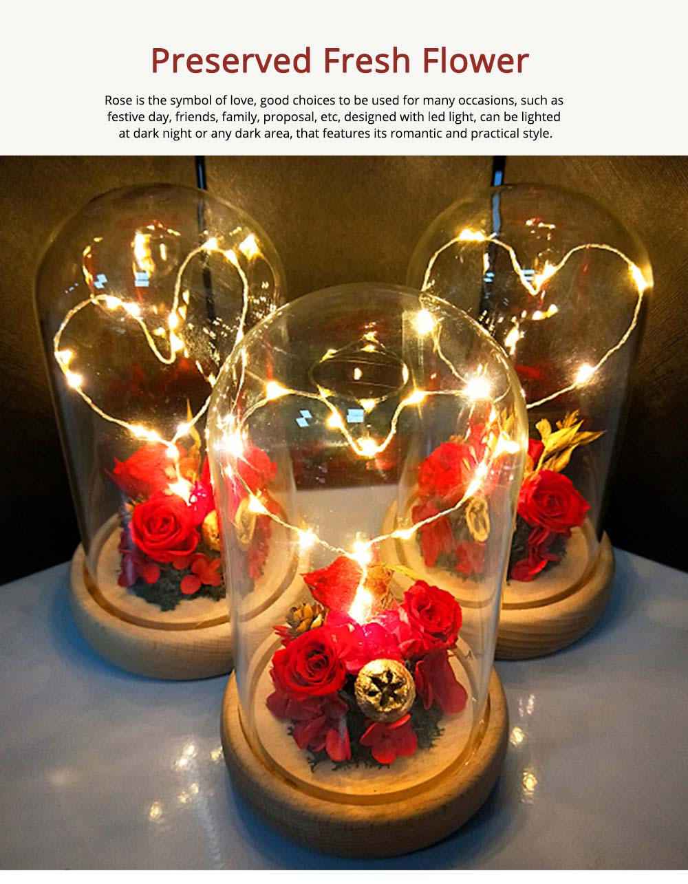 Imitation Rose Preserved Fresh Flower with LED Light Glass Cover, Great Valentine's Day Gift 0