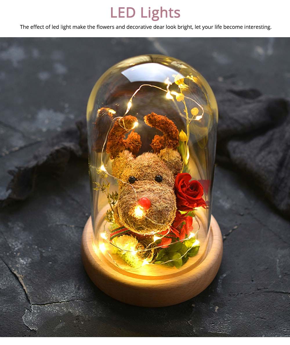 Preserved Flowers In Glass, Romantic Valentine's Day Christmas Gift Preserved Fresh Rose with Deer Decoration for Girl 2