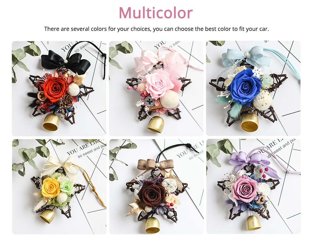 Preserved Flower Immortalized Real Rose Car Hanger Decoration 4