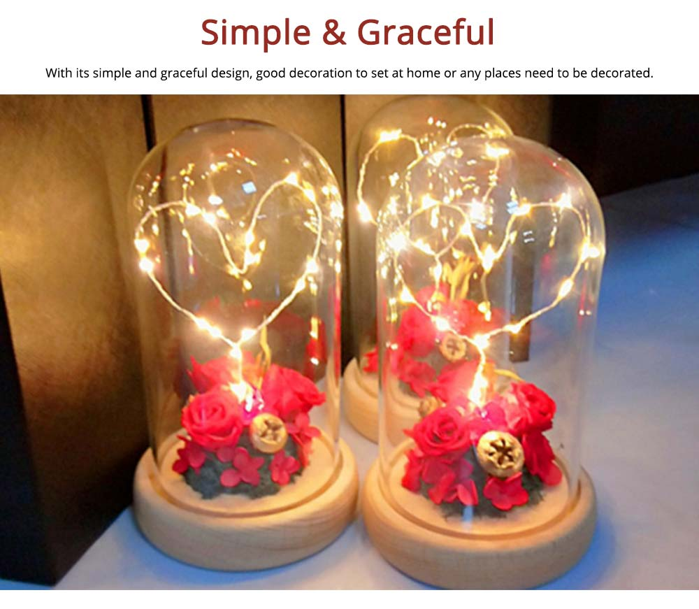 Imitation Rose Preserved Fresh Flower with LED Light Glass Cover, Great Valentine's Day Gift 4