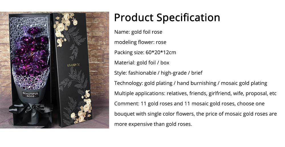 Gold Foil Rose 24K for Girlfriend, Mommy, Valentine's Day Gift 11 Mosaic Gold Roses 6