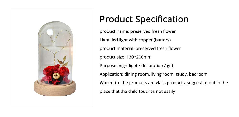 Imitation Rose Preserved Fresh Flower with LED Light Glass Cover, Great Valentine's Day Gift 7